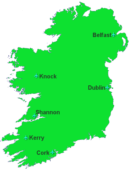 Map of Ireland showing location of airports